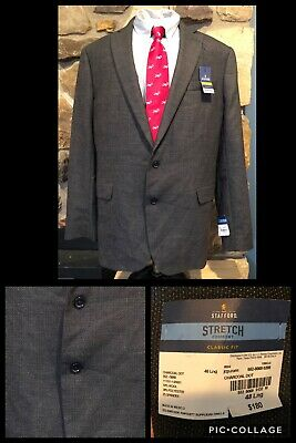 NWT!! Stafford Stretch Comfort Charcoal Dot Suit Jacket 48 L Wool