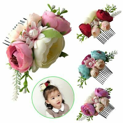 Photography Glitter Flower Hair Comb Leaves Baby Pearl Hairpin Girls Hair Clip
