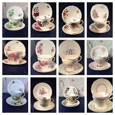 Various Pretty Vintage China Trios China Cups Plate Saucers