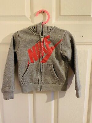 Grey & Pink Nike Jacket Tracksuit Top Age 2/3 (4157) Hooded