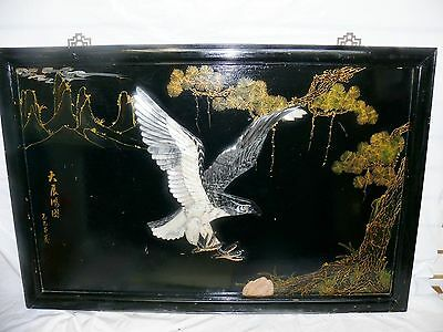 Antique Chinese Black Lacquer Wooden Jade Stone Eagle Signed Art Picture Frame