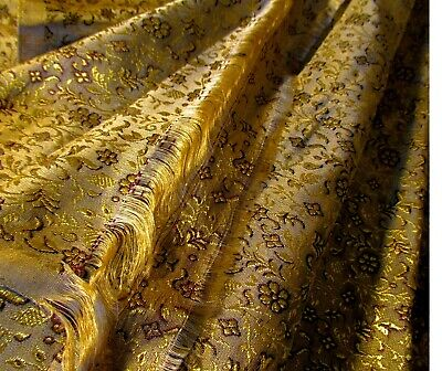 Antique Chinese Silk Brocade Fabric Gold Metallic Flowers And Leaves Textile Vtg
