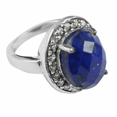 Faceted-Lapis Lazuli Solid 925 Sterling Silver Ring  Jewelry Size-8 AR-9986