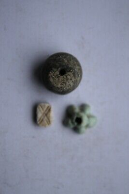 Ancient  Egyptian faience amulets 1st century BC eye, lotus, bead
