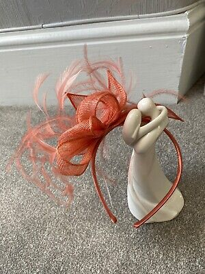 Coral Wedding fascinator headband Ladies Day Races Ascot