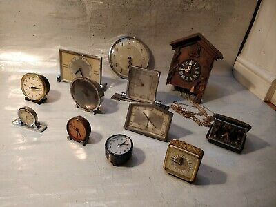 Lot Vintage Clocks Spares Repairs - Art Deco - Cuckoo - Alarm - Military -
