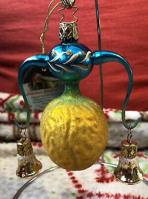 German Blown Glass Fantasy Walnut Ornament Extended Arms With Hanging Bells !