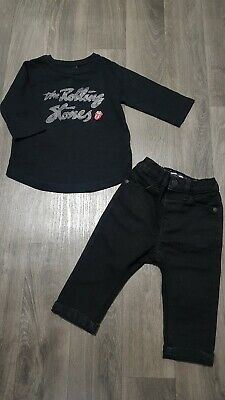 NEXT BABY BOYS OUTFIT 6-9 Months TOP,SKINNY JEANS,BLACK,ROLLING STONES,SET,TREND