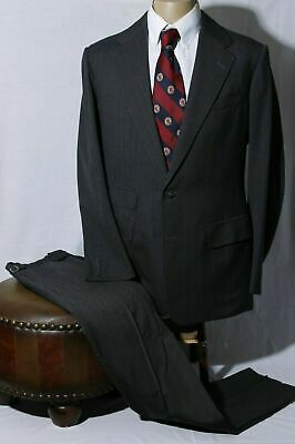 Anderson & Sheppard Men's Gray Textured Striped Suit Surgeon Tckt Pckt 40L W36