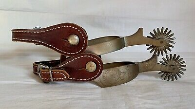 August Buermann Star Steel Silver Engraved Star & Moons Western Spurs & Straps