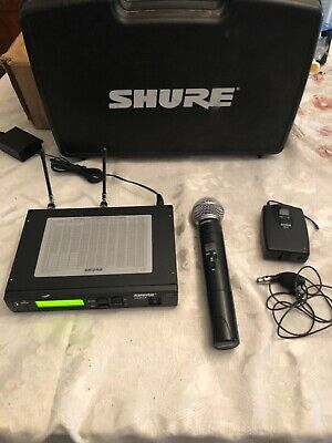 Shure ULXPS4 Wireless Microphone System SM58 Handheld & Lav Mic vg w/case