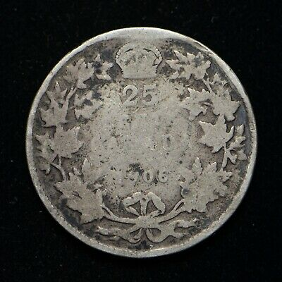 1906 Canada Twenty Five Cents .925 Silver Coin Low Grade (ab003)