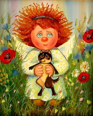"""Angel wants to have a puppy 16X20"""" Hand Painted Original Oil Painting Children"""