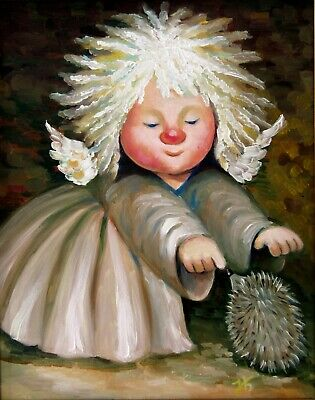 "Angel with Hedgehog 16X20"" Hand Painted Original Portrait Oil Painting Children"