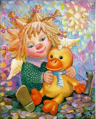 Angel with the Favorite Toy Hand Painted Original Portrait Oil Painting Children