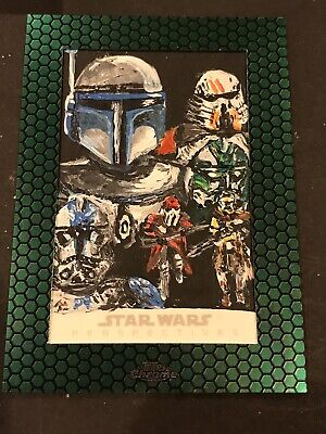 Topps Star Wars Sketch Card 1/1 Boba Fett Chrome Perspective 2015 W Silverman