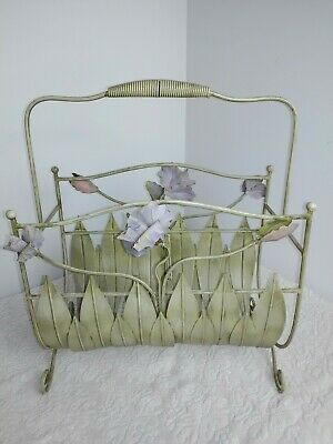 Vtg French Country Wire Floral Wrought Iron Patio Magazine Rack Stand Holder