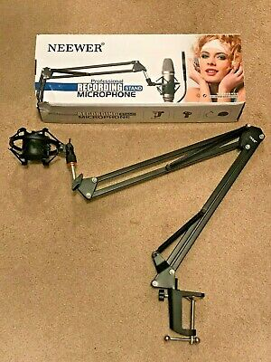 Neewer Microphone Suspension Boom Scissor Arm Stand, Shock Mount, Mounting Clamp