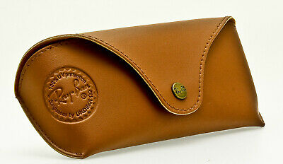 RAY-BAN PREMIUM SMOOTH LEATHER SUNGLASS CASE Genuine Brown Snap Closure Eyeglass