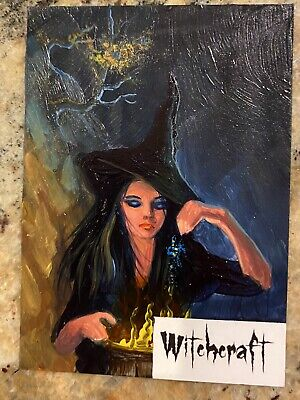 2016 1/1 Sketch Card Ingrid Hardy Sp Halloween 2 Trick Or Treat Witch