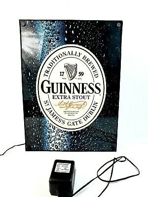 Guinness Extra Stout Light Up Bar Sign Neon Light Box Black Works Great Man Cave
