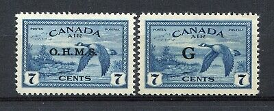 """CANADA Scott CO1 & CO2 - NH - OHMS & """"G"""" Overprint Air Mail Stamps (.161)"""