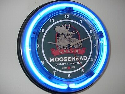 *Moosehead Canada Beer Bar Man Cave Blue Neon Advertising Wall Clock Sign