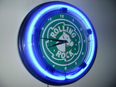 *Rolling Rock Beer Bar Man Cave Advertising Blue Neon Wall Clock Sign