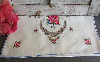 Vintage Cross Stitch Table Runner Doilies Shabby Roses