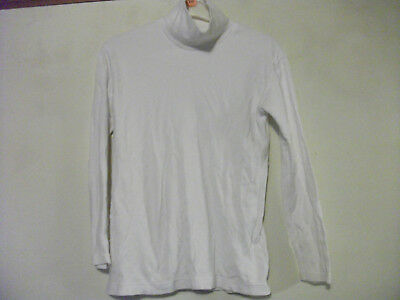 M&S Girls White Roll NECK TOP 11-12 years White Cotton Long Sleeved Made in UK