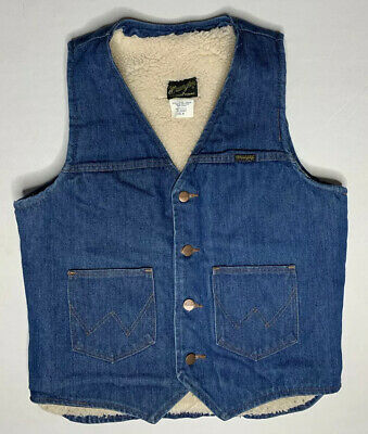 Vintage Mens Wrangler Denim Faux Sherpa Lined Western Work Vest Rockabilly Med
