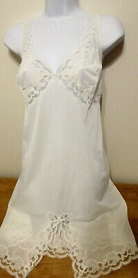 "unworn ITALY LILION WHITE nylon 2"" LACE trim full slip nightgown size XL 42 bust"