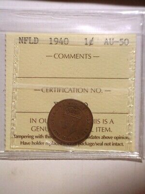 **1940** ICCS Graded Newfoundland Small One Cent - NFLD 1C Penny