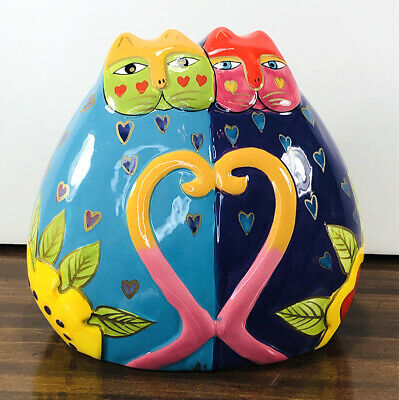 Laurel Burch CATS IN LOVE Ceramic Bank Figurine Colorful Crazy Cat Lady Gift