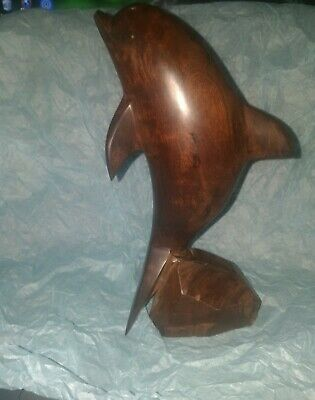"Wood Hand Carved Dolphin 8""  Art Statue"