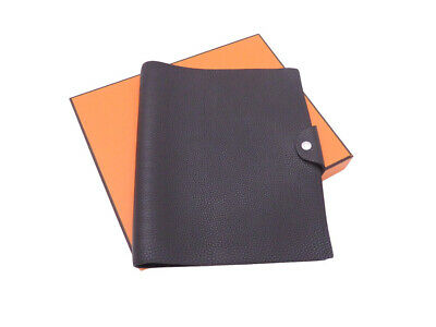 Auth HERMES Ulysse MM Note/Agenda Cover Black Togo Leather - e44061