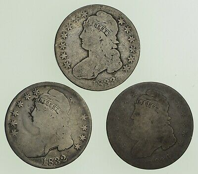 Lot (3) 1832 1833 & 1836 Capped Bust Half Dollars - Circulated *9007