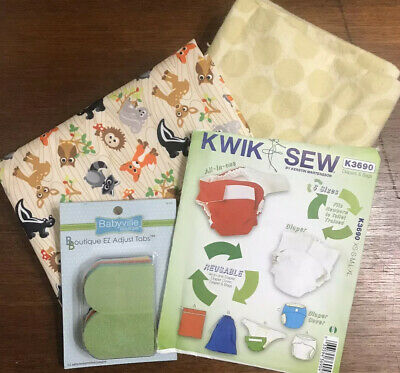 Babyville Boutique Cloth Diaper Supply Lot PUL Fabric Flannel velcro Tabs