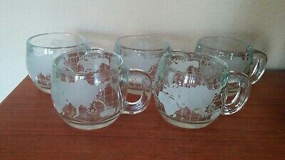 1970's Set Of 5 Nestle Nescafe World Globe Cups VERY Nice Clean Condition