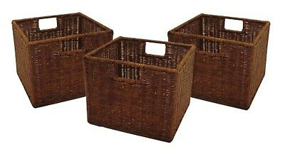 Set of 3 Wired Baskets Small Brown Storage Bin For Winsome Woods Espresso Shelve