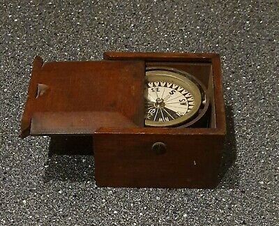 Antique Singer Ships Compass/Binnacle, WW2 action ? Nicely Messaged Aug 1944