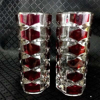 Mid Century Glass Vases French Modernist Pair Windsor Rubis Durand Red Clear