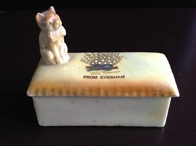 Antique China Cat Lucky White Heather from Evesham Trinket Box Foreign 5679