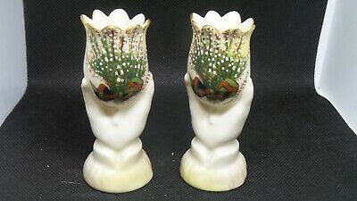ANTIQUE CARLTON WARE lucky heather SPILL VASES from GARSTANG C 1900