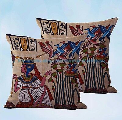 set of 2 Ancient Egyptian art cushion cover decorative pillows couch