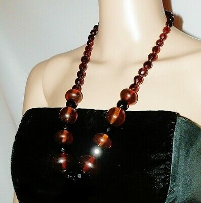 1970s Vintage Old Cognac Brown Czech Glass and Honey Amber Lucite Bead Necklace