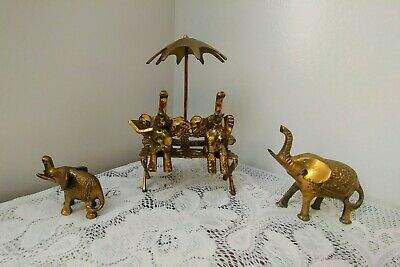 Vintage Set of 4 Brass Elephant Figurines