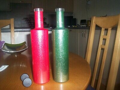 2 decorative M&S bottle vases red and green 28cms high