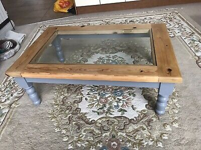 Large Vintage Solid Pine Coffee Table Up Cycled Painted Grey Legs Glass Pine Top