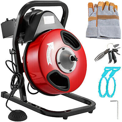 """Drain Cleaning Machine 250W Drain Cleaner 50' x 1/2"""" Solid-Core Auger Cable"""